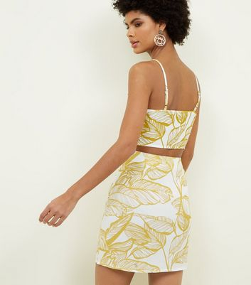 Parisian Yellow Leaf Print Button Front Skirt New Look