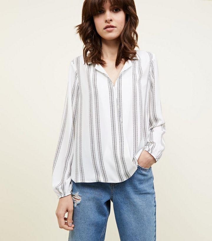 bc4c0c750c1147 White Stripe Wrap Front Blouse | New Look