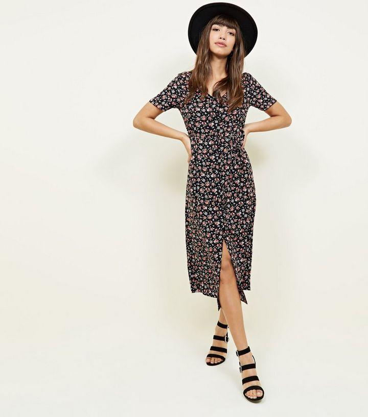 2febc7a69064 Black Ditsy Floral Button Through Midi Dress | New Look