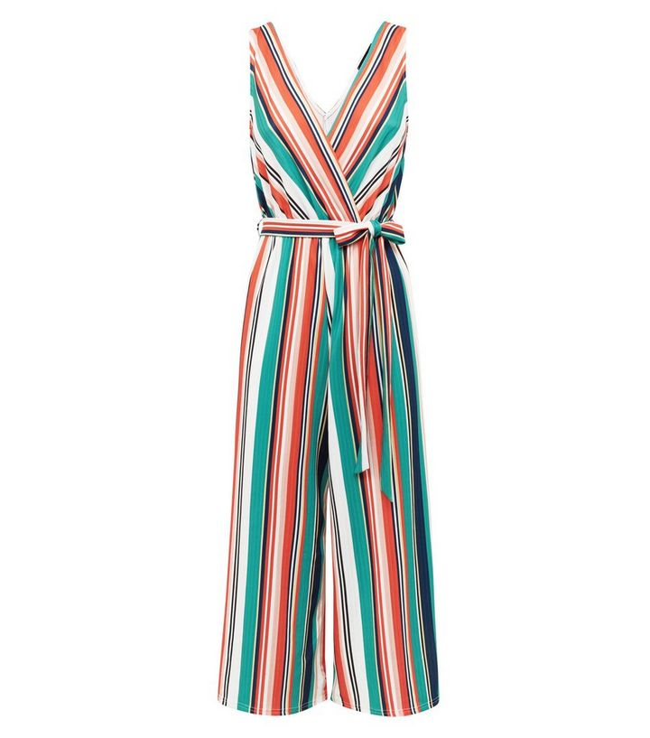 b147006c592 ... White Stripe Ribbed Wrap Jumpsuit. ×. ×. ×. Shop the look