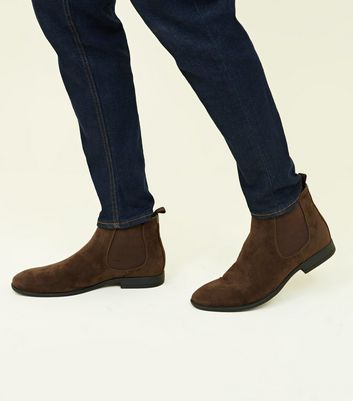 Dark Brown Faux Suede Chelsea Boots