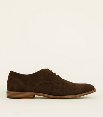 Dark Brown Faux Suede Lace-Up Desert Shoes