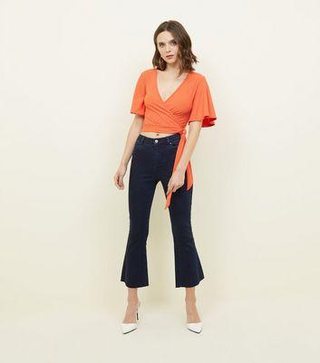 Bright Orange Flutter Sleeve Wrap Crop Top New Look