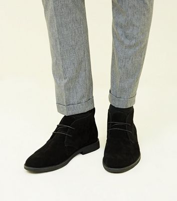 Black Suedette Desert Boots   New Look