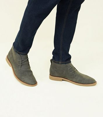 Grey Faux Suede Desert Boots