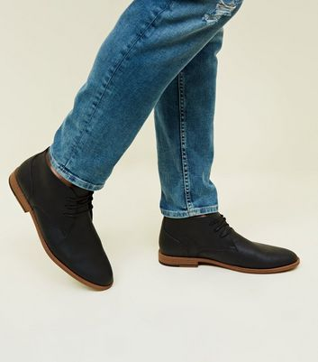 Black Leather-Look Chukka Boots