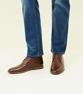 Dark Brown Leather-Look Chukka Boots
