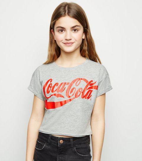 eefd06454e802 ... Girls Grey Coca Cola Logo T-Shirt ...