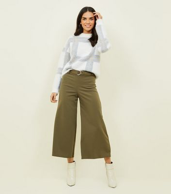 Khaki D-Ring Belt Cropped Trousers