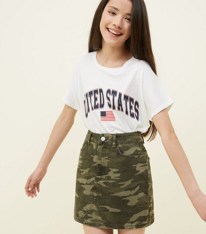 7279b5567c780 Girls Green Camo Print Denim Skirt | New Look