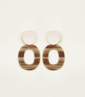 brown-oval-drop-earrings by new-look