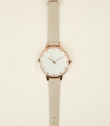 Grey Floral Embossed Strap Watch