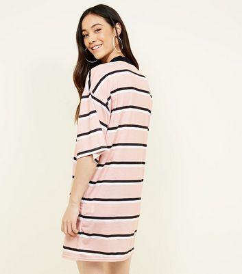 Pink Vanilla Pink Stripe T-Shirt Dress New Look