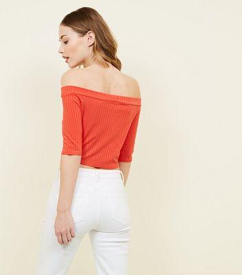 Pink Vanilla Bright Orange Ribbed Twist Front Top New Look