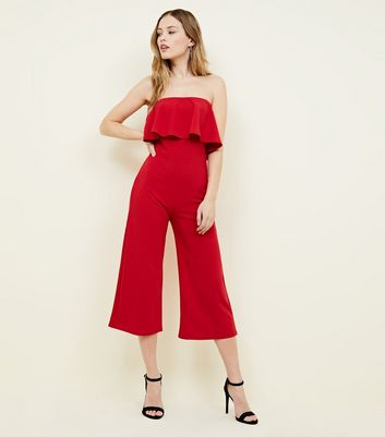 Pink Vanilla Red Frill Bandeau Culotte Jumpsuit