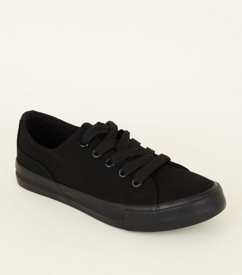 Girls Black Canvas Chunky Lace Up Trainers