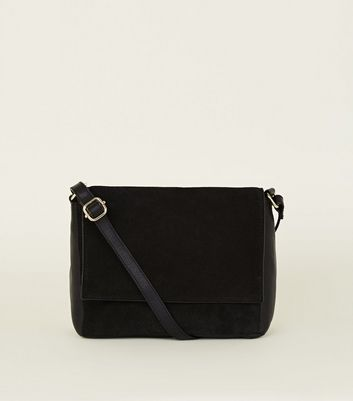 Black Leather and Suede Foldover Cross Body Bag