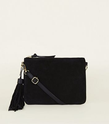Black Suede Tassel Side Cross Body Bag