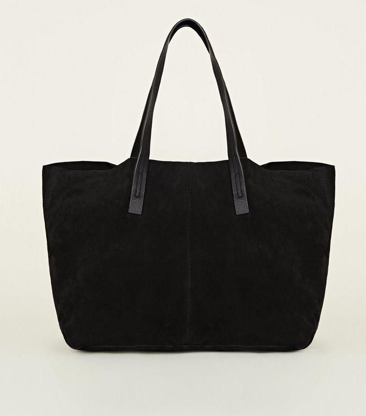 Black Suede Slouch Tote Bag The Look