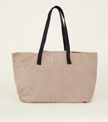 Cream Suede Slouch Tote Bag