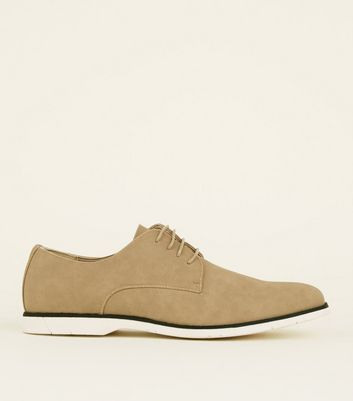 Stone Suedette Lace-Up Derby Shoes