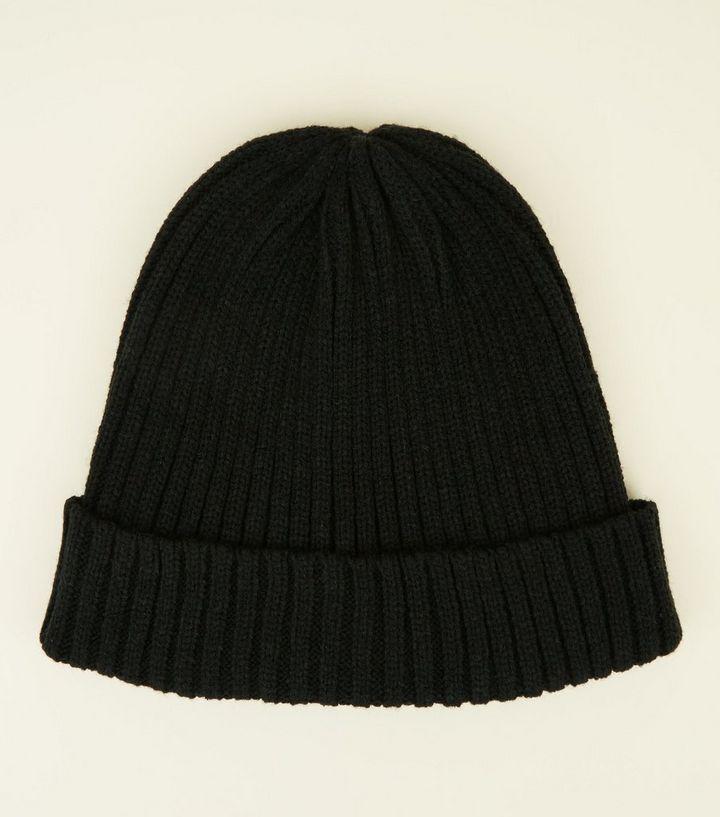 Black Ribbed Knit Beanie Hat  a146a48e689