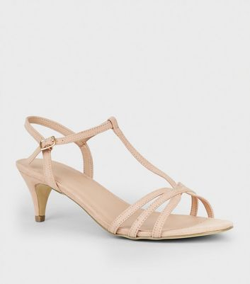 Wide Fit Nude Comfort Suedette Strappy Heels