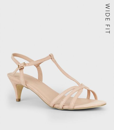 a50e27bad13 ... Wide Fit Nude Suedette Strappy Heels ...