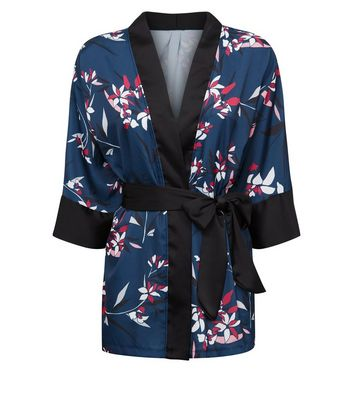 New Look - Cameo Rose Blue Floral Satin Kimono - 2