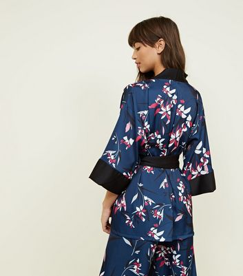 New Look - Cameo Rose Blue Floral Satin Kimono - 6