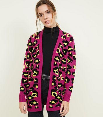 Blue Vanilla Bright Pink Leopard Print Cardigan New Look