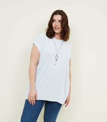 Blue Vanilla Curves Blue Oversized Necklace Top