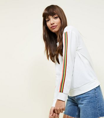 Cameo Rose Cream Rainbow Sleeve Stripe Sweatshirt New Look