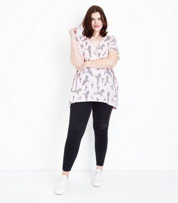 Blue Vanilla Curves Pink Bird Print Oversized T-Shirt New Look