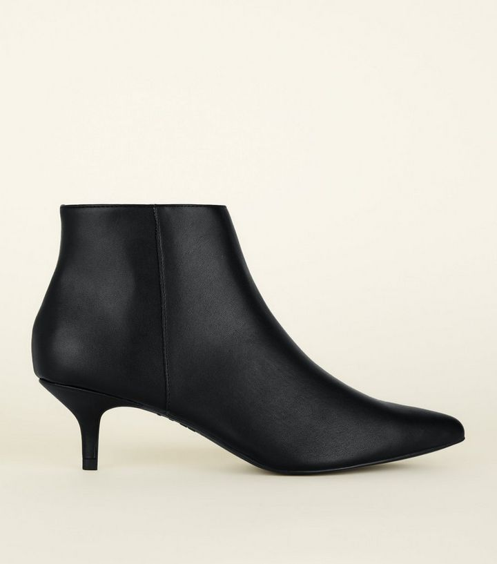 f697fd0ed52d Black Leather-Look Kitten Heel Ankle Boots | New Look