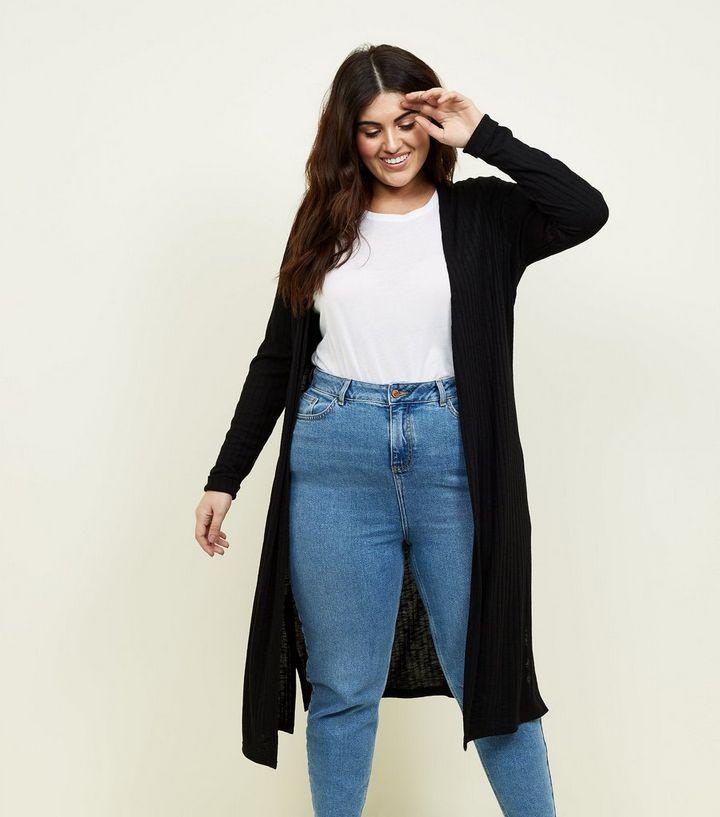 d7bfbfb05584 Curves Black Fine Knit Midi Cardigan