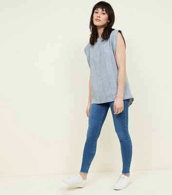 Apricot Blue Check Split Back Top New Look