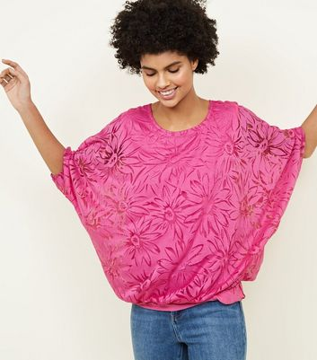 Apricot Bright Pink Floral Burnout Top New Look