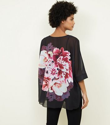 Apricot Black Floral Oversized Top New Look