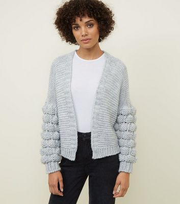 Cameo Rose Pale Grey Bubble SleeveCardigan