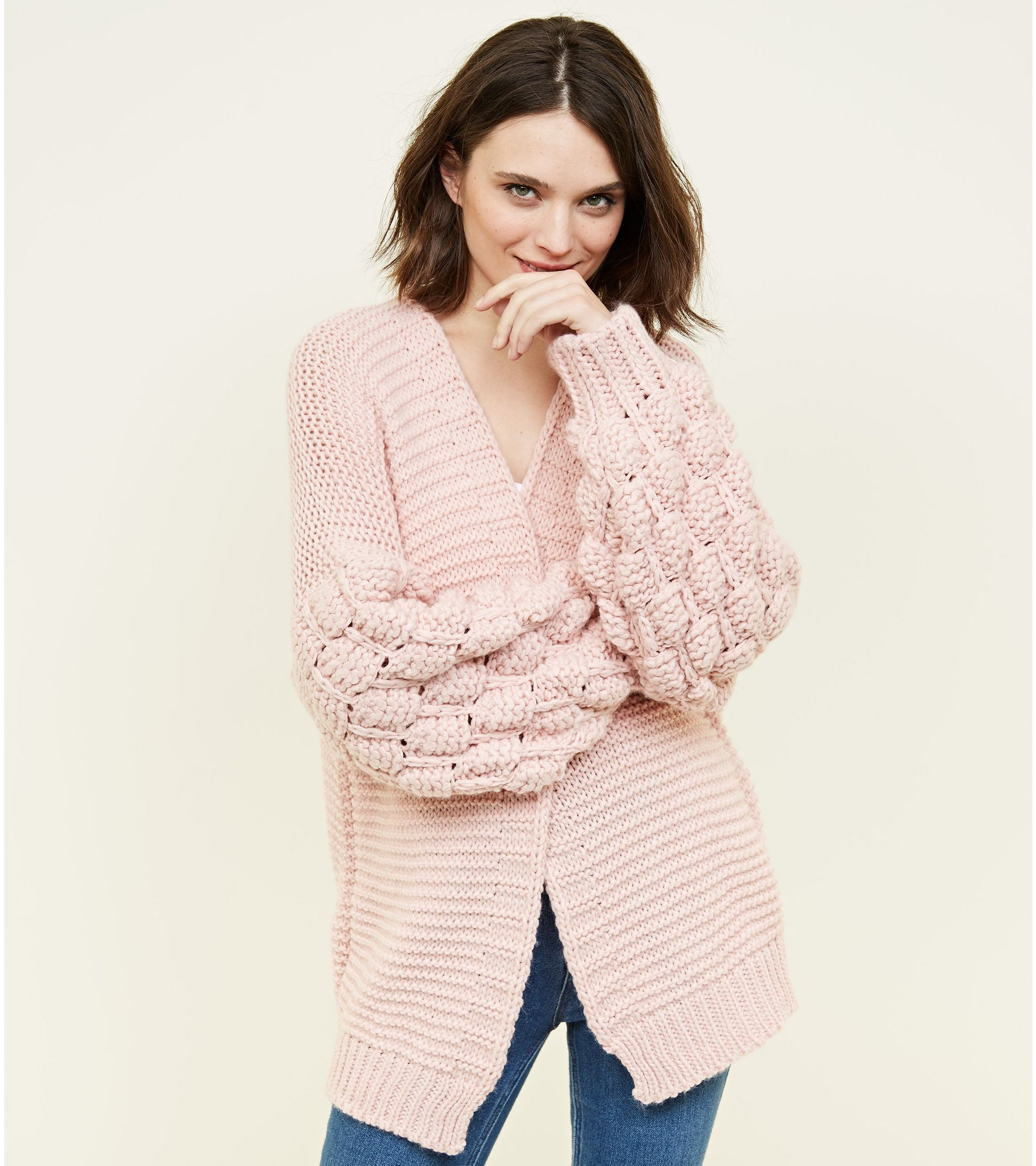 New Look Cameo Rose Pale Pink Balloon Sleeve Cardigan at £24.99 ... f4432655ca14
