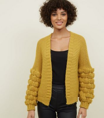 Cameo Rose Mustard Bubble Sleeve Knitted Cardigan