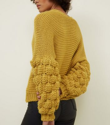 Cameo Rose Mustard Bubble Sleeve Knitted Cardigan New Look