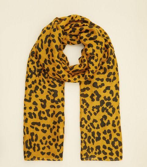 5895dbd249bb ... Mustard Leopard Print Longline Scarf ...