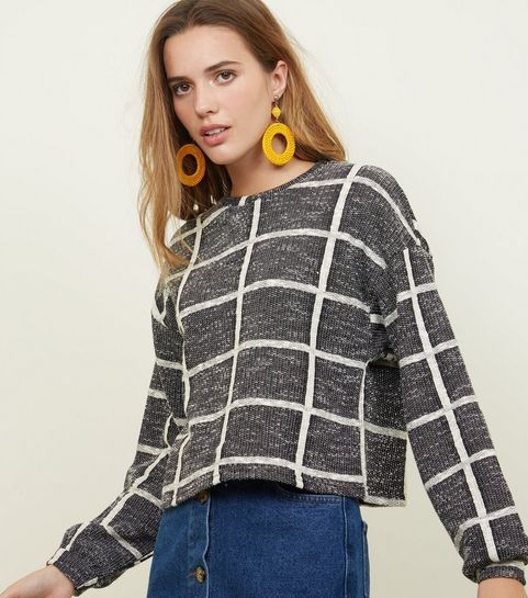 Black Check Fine Knit Jumper
