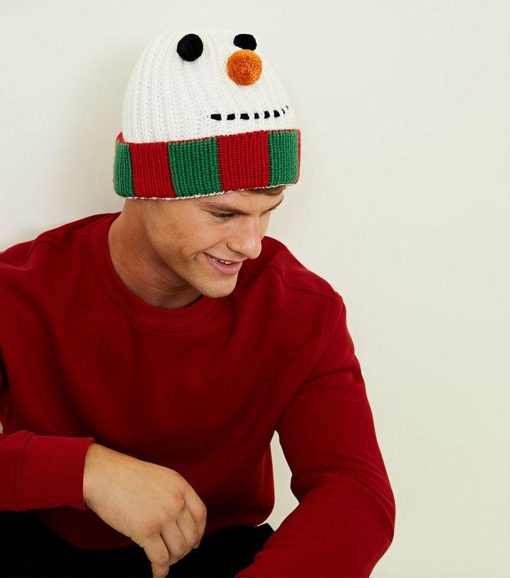 Multicoloured Christmas Snowman Beanie Hat   New Look