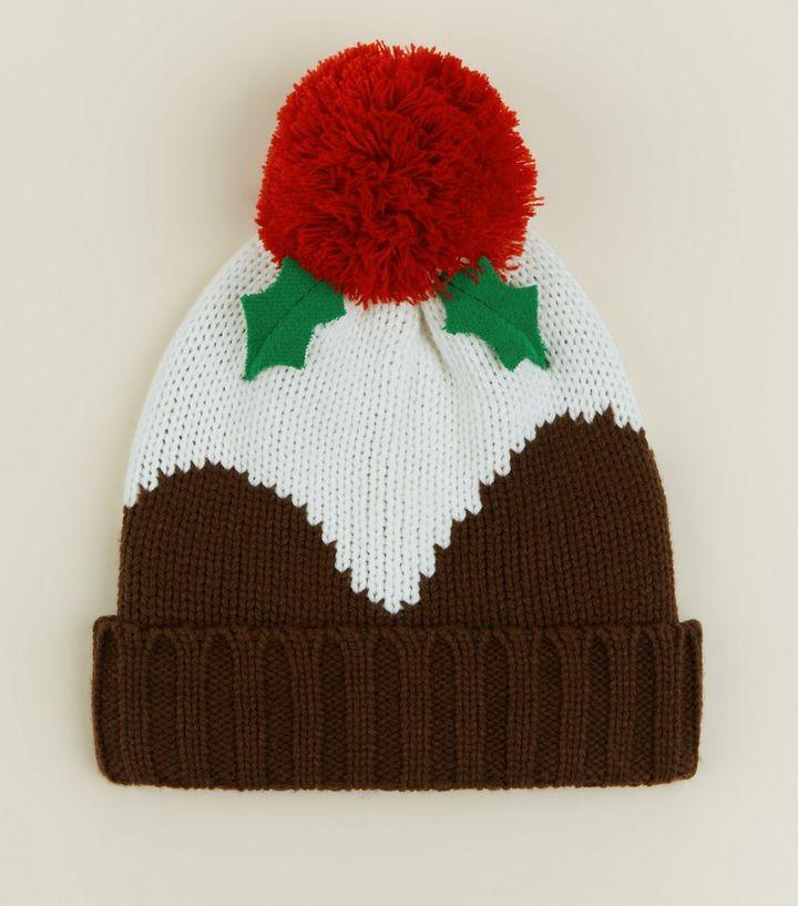 7b6692f91d582 Multicoloured Christmas Pudding Beanie Hat