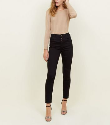 Black High Waist 3 Button Yazmin Jeans