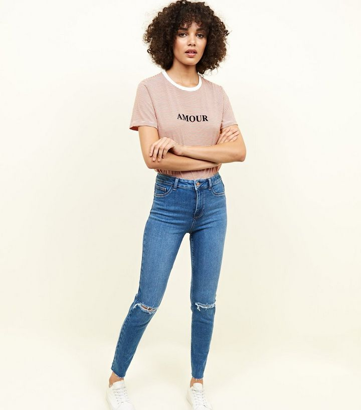 42ee96fa8be7d Blue Ripped High Waist Super Skinny Hallie Jeans | New Look
