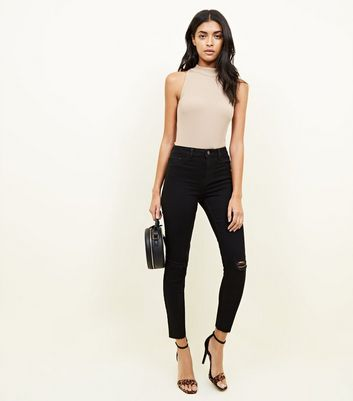 Black High Waist Super Skinny Ripped Hallie Jeans